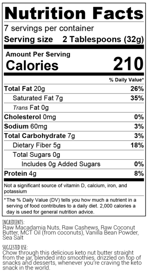perfect keto nut butter label