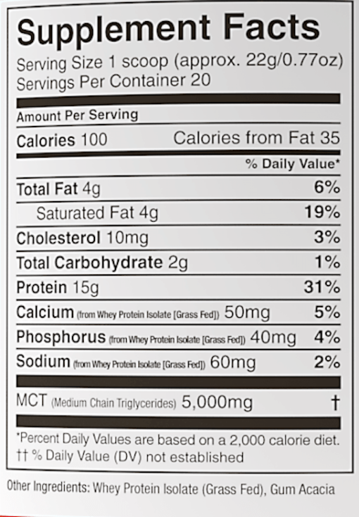 Perfect keto chocolate whey protein nutrition
